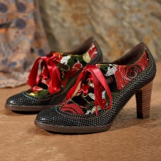 SOCOFY Genuine Leather Serpentine Hollow Out Lace Up Pumps