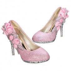 Glitter Flower Pump Wedding Party Crystal High Heels Women Shoes