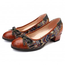 SOCOFY Bohemian Stitching Jacquard Shoes Genuine Leather Pumps