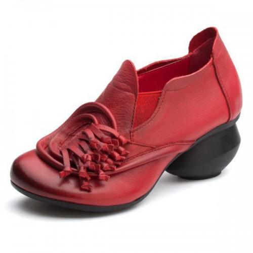 SOCOFY Retro Genuine Leather Slip On Flower Casual Shoe Pumps