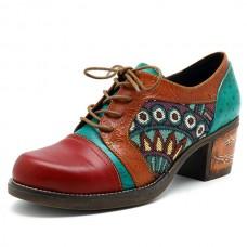 SOCOFY Bohemian Jacquard Splicing Color Match Mid Heel Shoe Leather Pumps