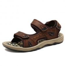 Men Comfy Outdoor Hook Loop Leather Sandals Beach Shoes