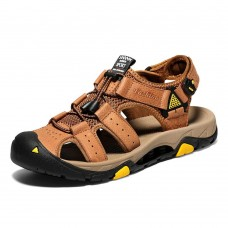Men Genuine Leather Outdoor Toe Protection Hiking Sandals