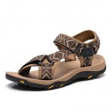 Men Genuine Leather Clip Toe Casual Beach Sandals