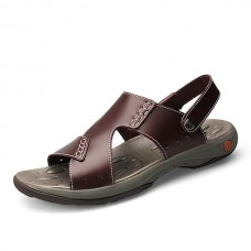 Men Comfy Sole Casual Genuine Leather Sandals Two Way Wear Summer Shoes