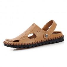 Men Summer Leather Sandal Casual Round Toe Outdoor Flat Fashion Soft Beach Slipper
