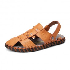Men Summer Comfy Genuine Leather Two Way Wear Sandals Beach Shoes Slippers