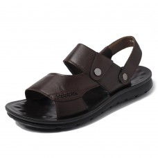 Men Soft Sole Genuine Leather Two Way Wear Sandals Beach Shoes