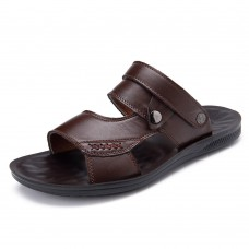 Men Comfy Sole Genuine Leather Sandals Two Way Wear Shoes Beach Shoes