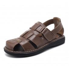 Men Comfy Genuine Leather Sandals Round Toe Sandals Open Toe Sandals